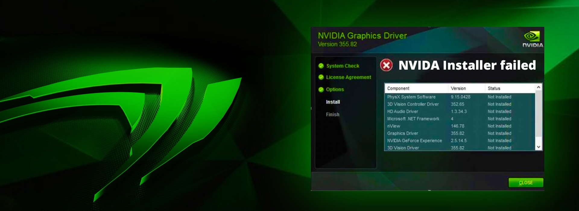 nvidia drivers failing to install windows 10
