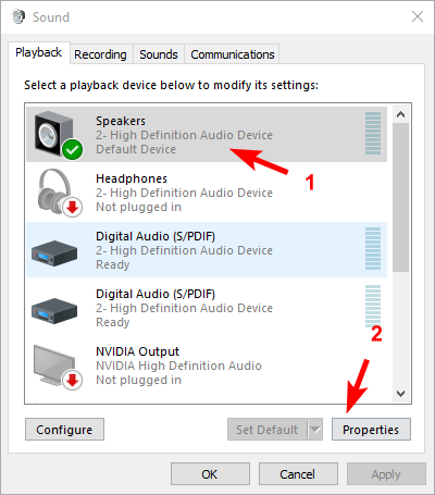 Change speaker sound format Windows 10