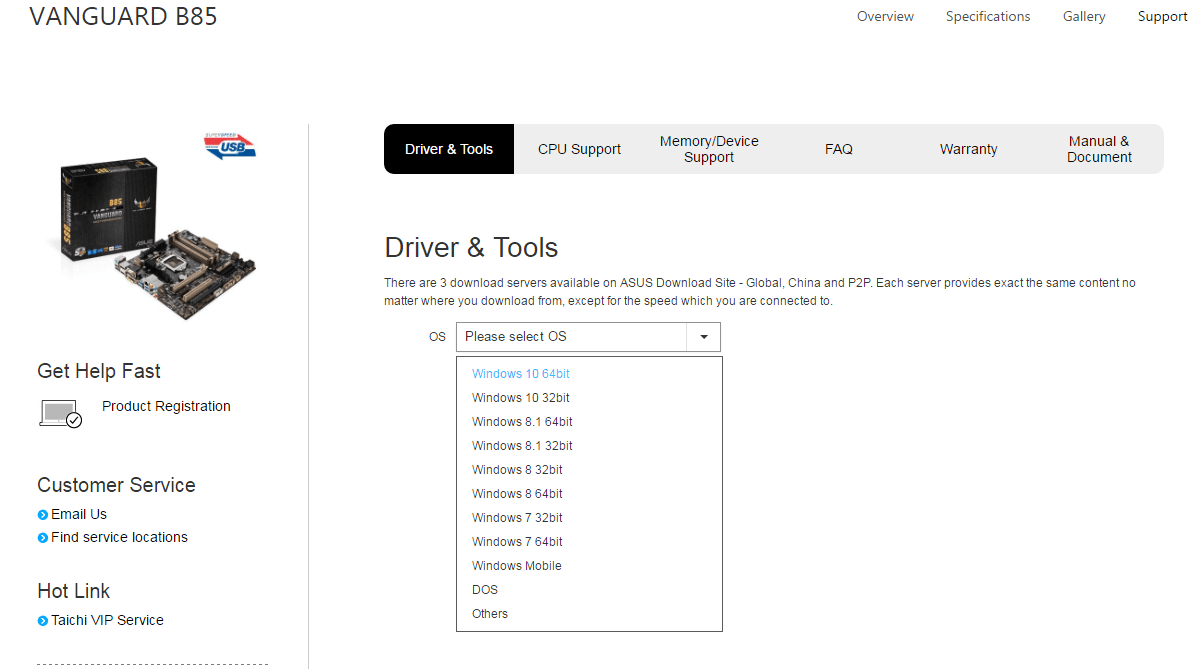 Then all available drivers will be listed. You can download drivers you  need.