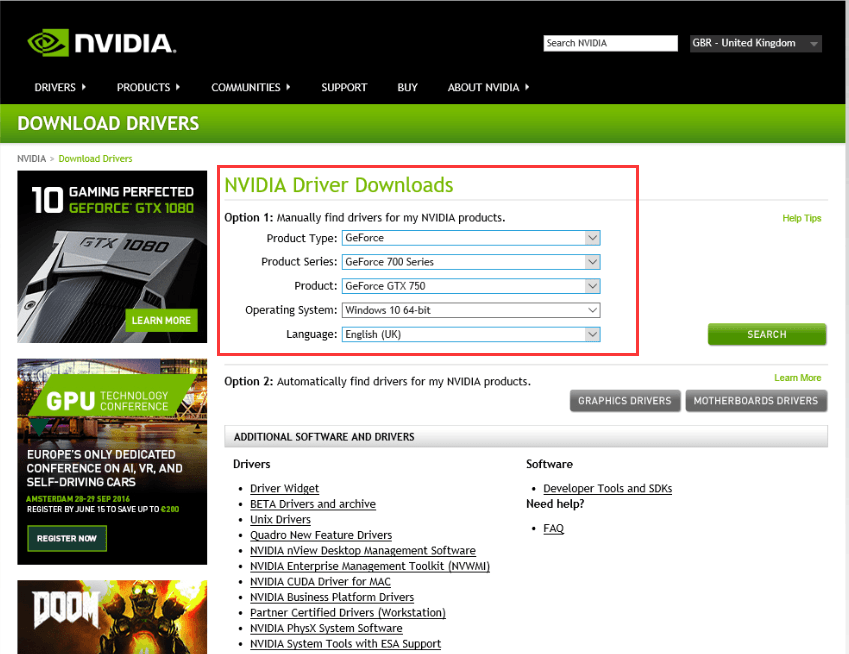 nvidia driver download windows 10