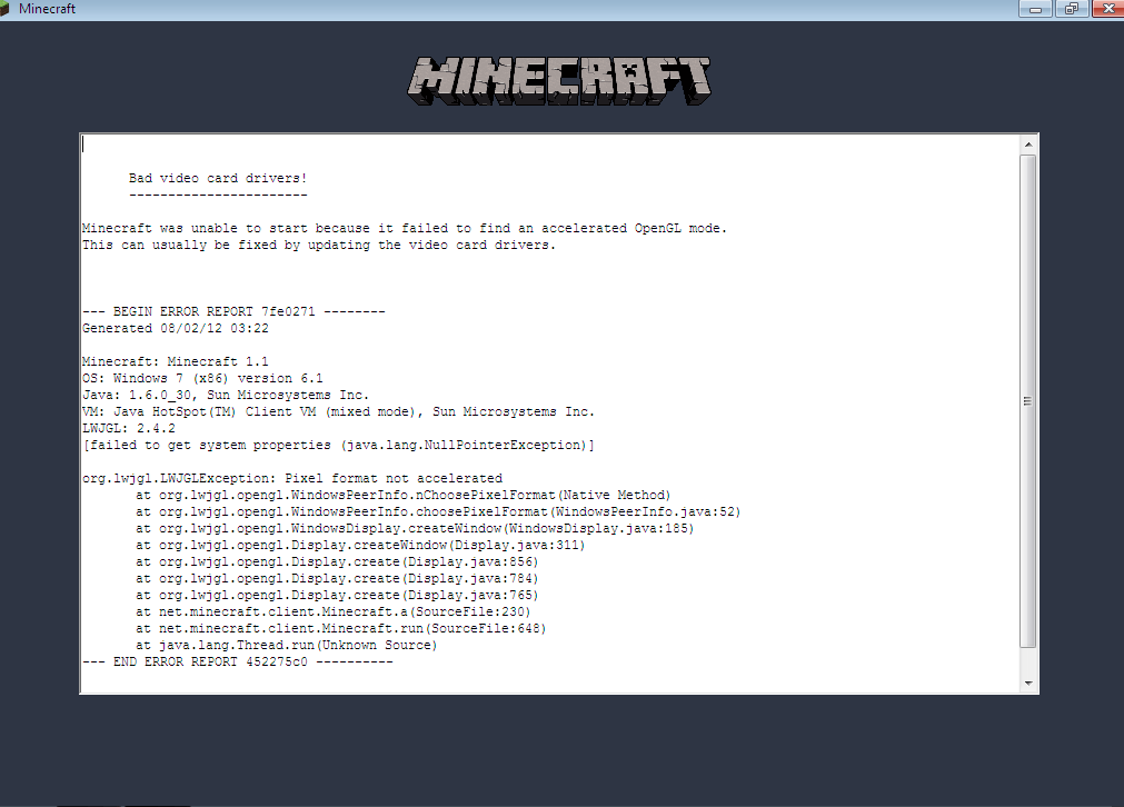 Updating the video card drivers minecraft