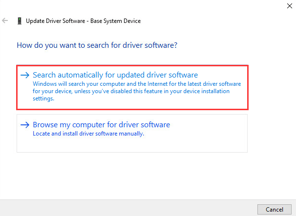 How to Fix Base System Device Driver issue in Device Manager