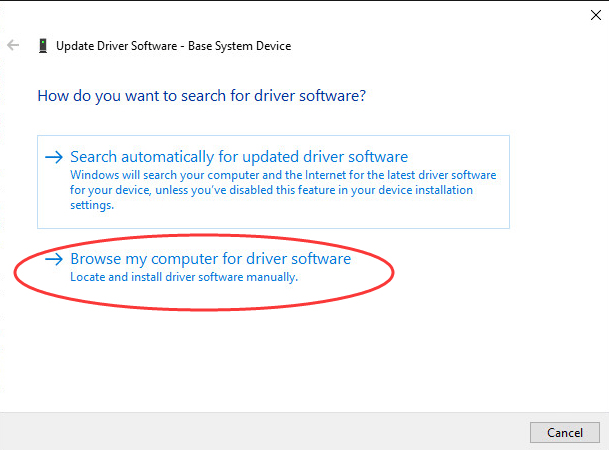 4. Click Browse… button and select the folder where you saved the downloaded driver or extracted the driver earlier.