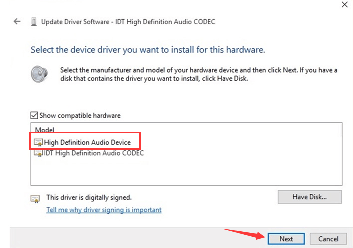 idt high definition audio codec pour windows 7 hp