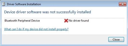 Bluetooth Peripheral Device Driver Not Found on Windows 7