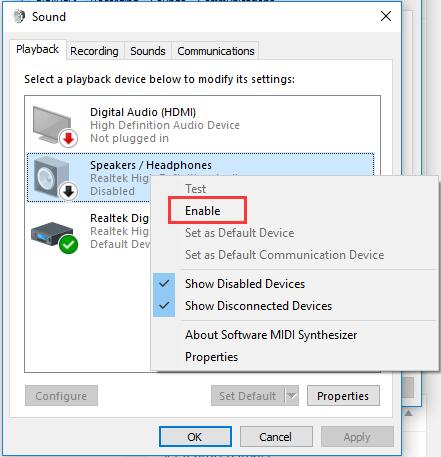 enable speakers