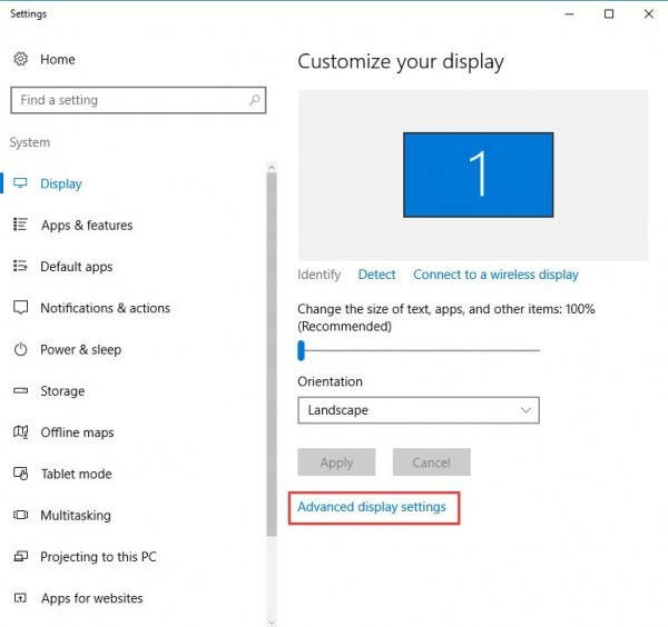 resolution advanced display settings