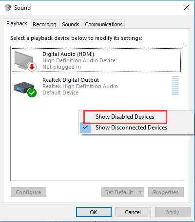 show disabled device