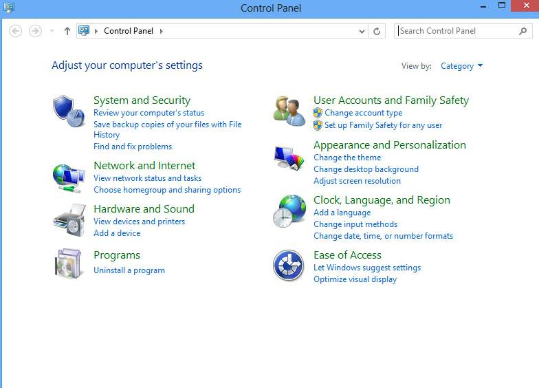 how to easily open control panel in windows 8