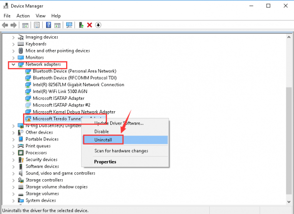 teredo tunneling adapter driver windows 7