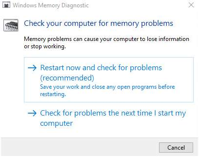 memory management error win 10