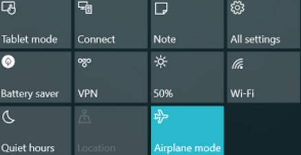 Windows 10 Wi-Fi won't turn on Airplane Mode on errors