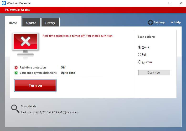 Windows  Home Windows Defender Disable