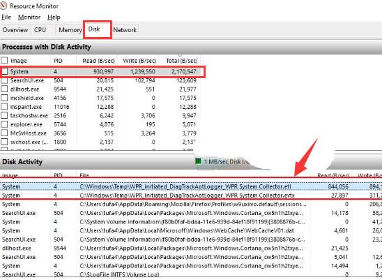 High Disk Usage: WPR_initiated_DiagTrackAotLogger_WPR System