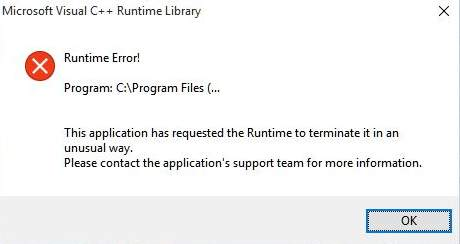 cortana runtime error