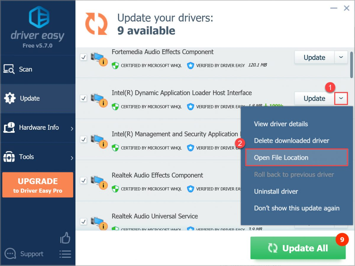 Driver Easy Free Open File Location