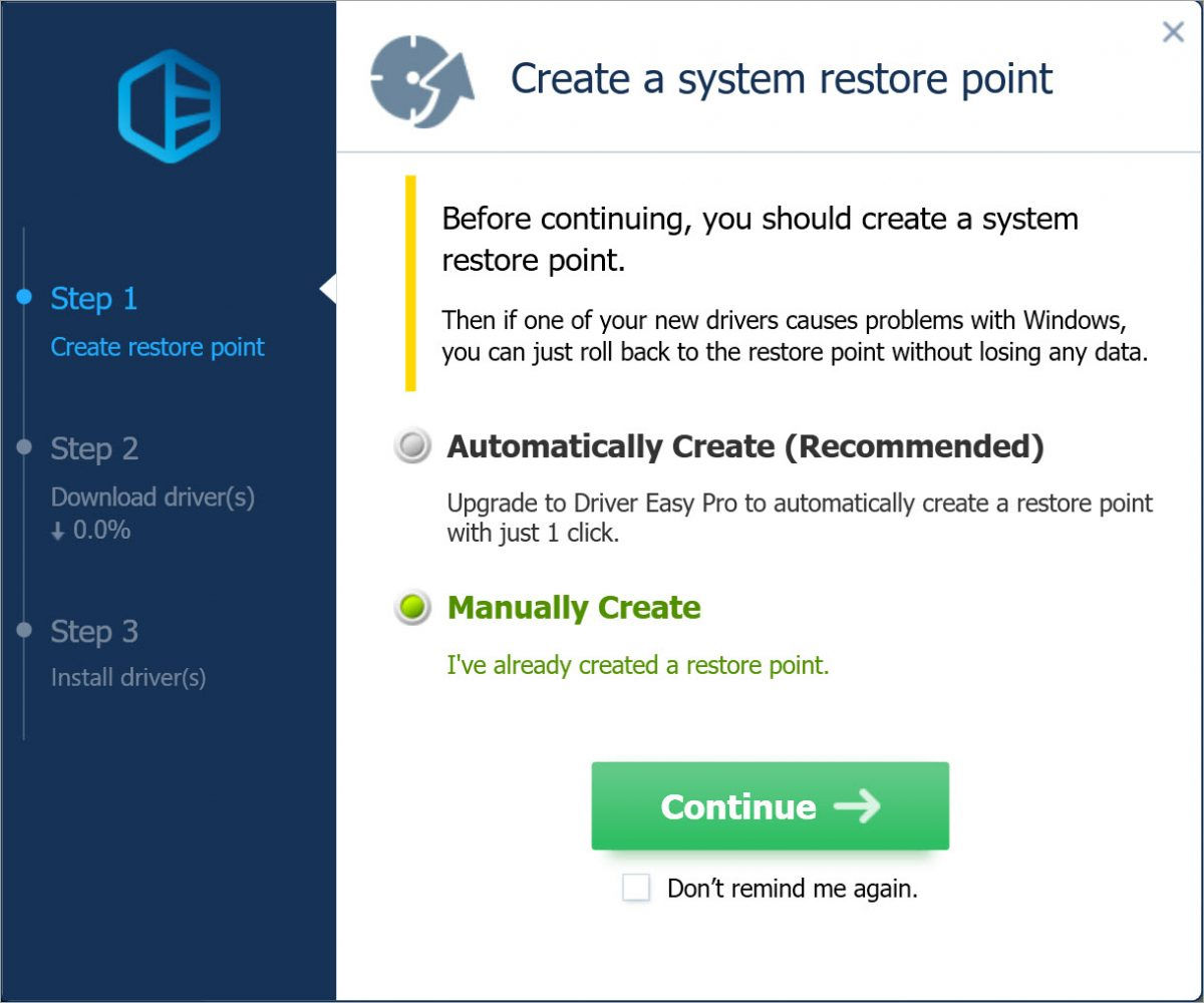 Driver Easy Free create a system restore point manually