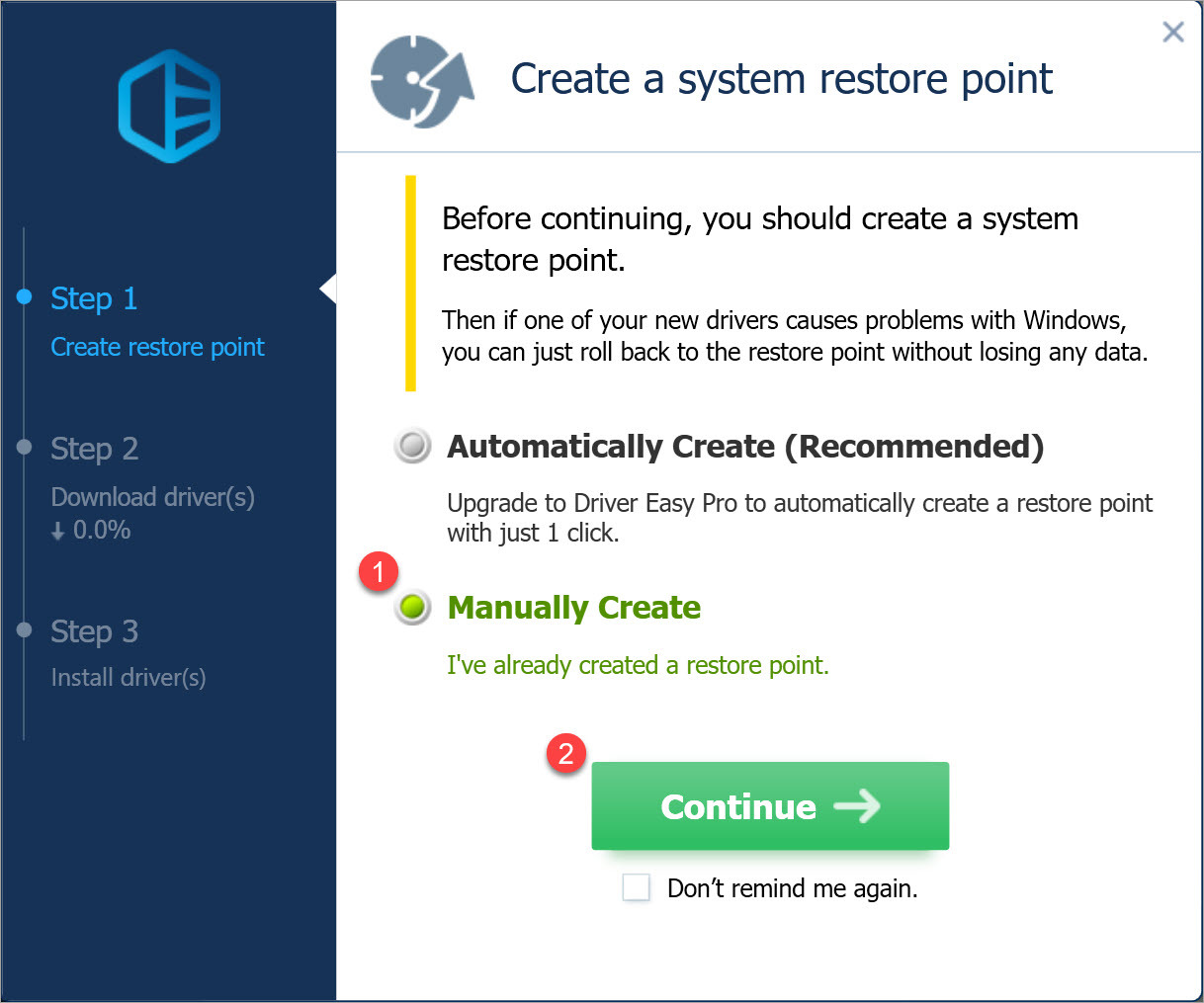 Driver Easy Free create a system restore point manually before updating drivers