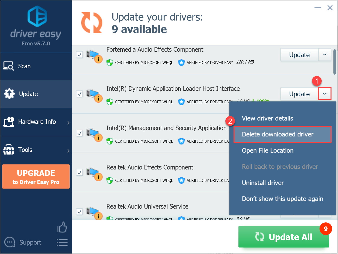 Driver Easy Free delete downloaded driver