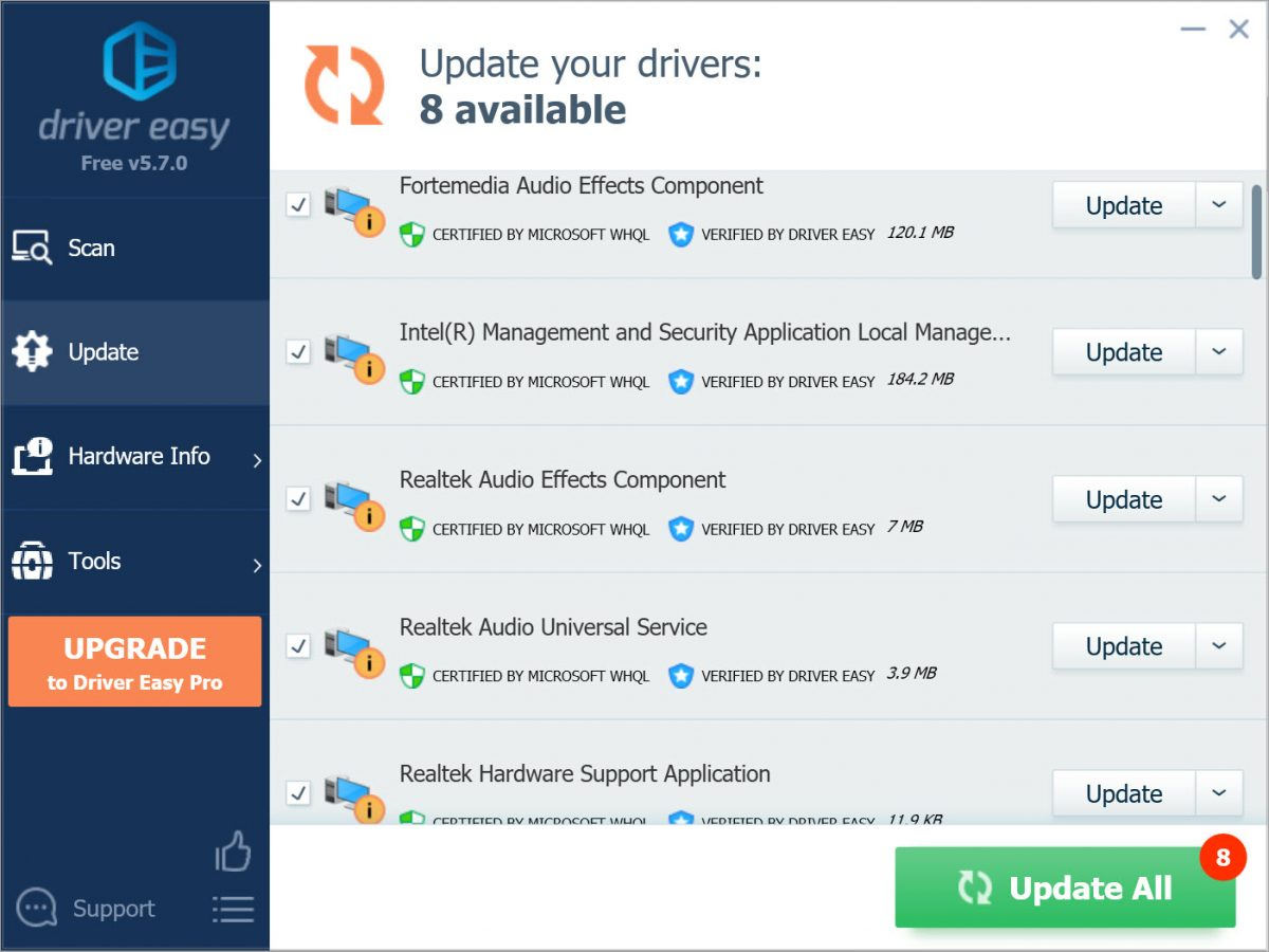 Driver Easy Free hide driver update done