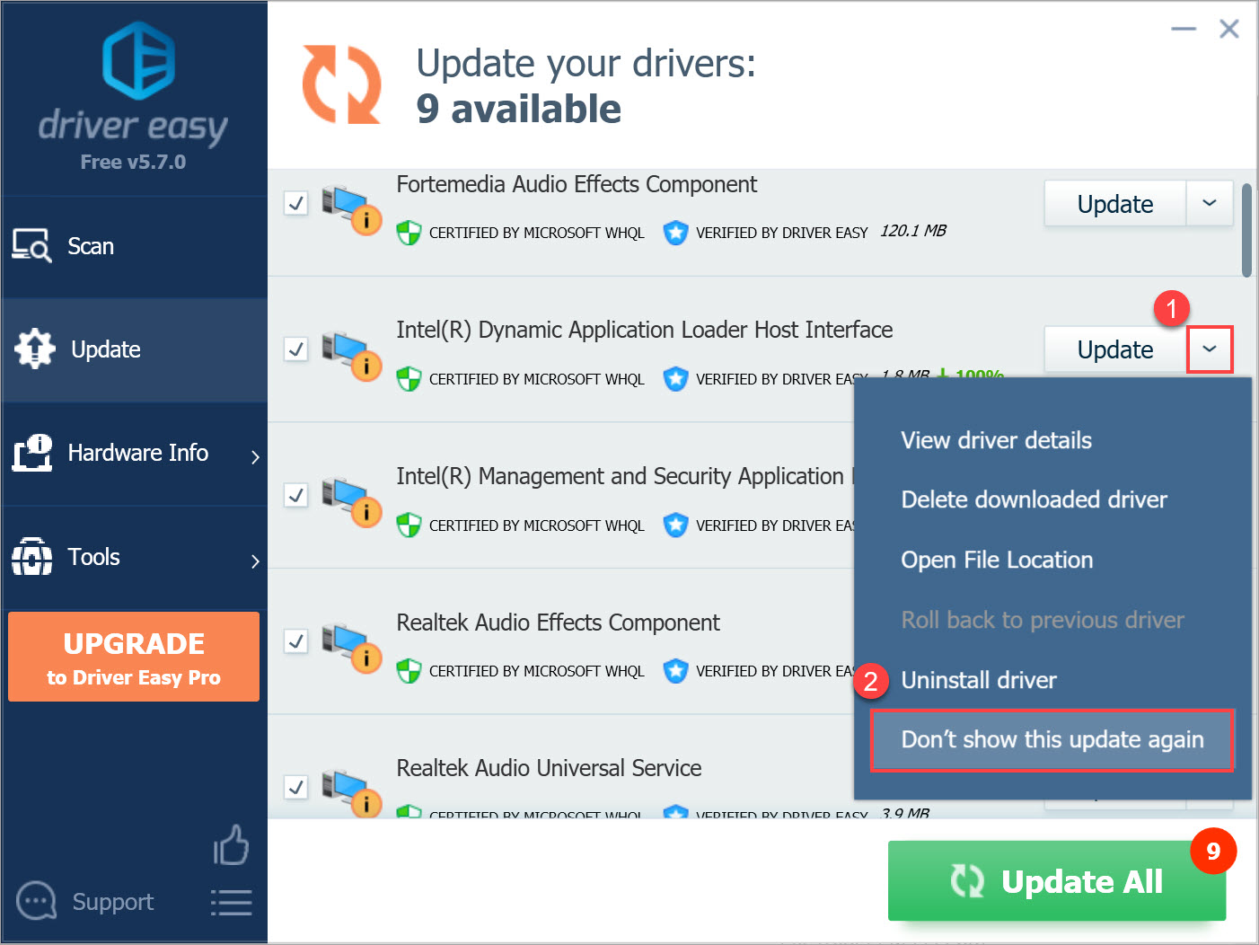 Driver Easy Free hide driver update