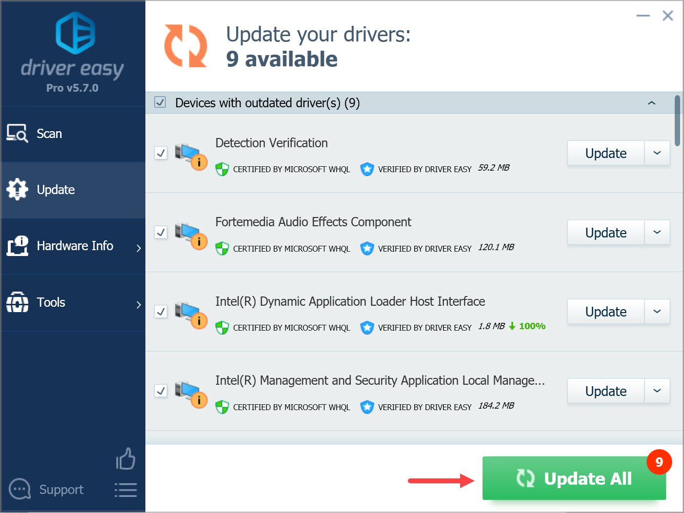 Driver Easy Pro Update All drivers