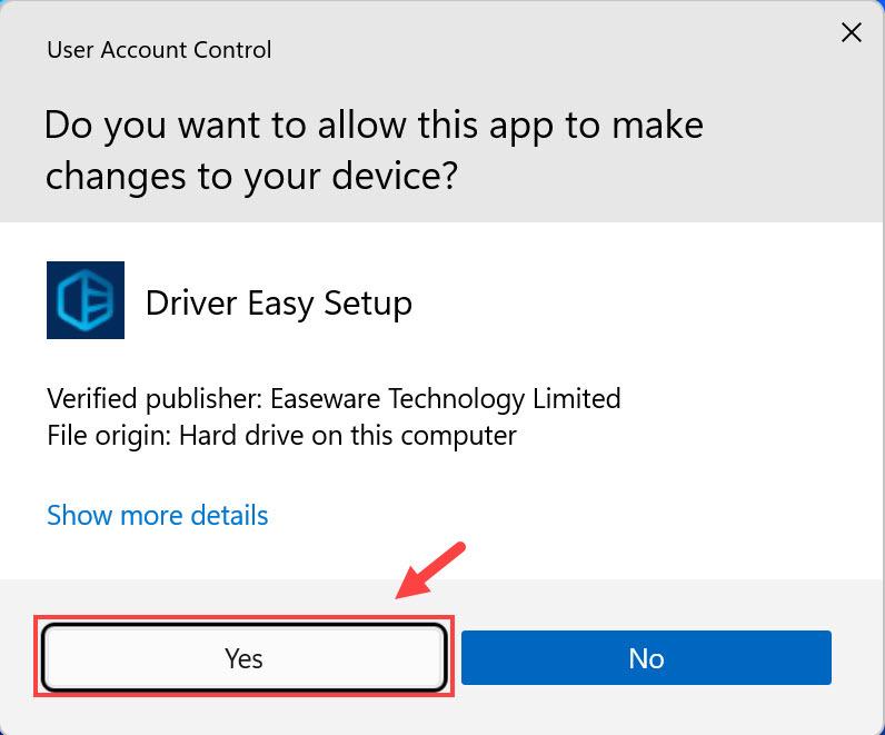 Driver Easy Setup UAC select Yes