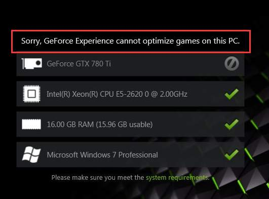 GeForce Experience Game cannot be optimized [Solved