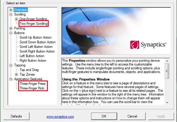 Synaptics Pointing Driver for Windows