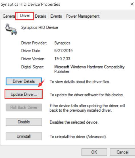 Synaptics' TouchPad device drivers are customized and supported by notebook manufacturers to meet specific driver requirements for their individual products. To ensure the appropriate driver for your device, always use the driver your specific notebook OEM supports. ... Before upgrading to Windows 10, first check with your notebook manufacturer ...