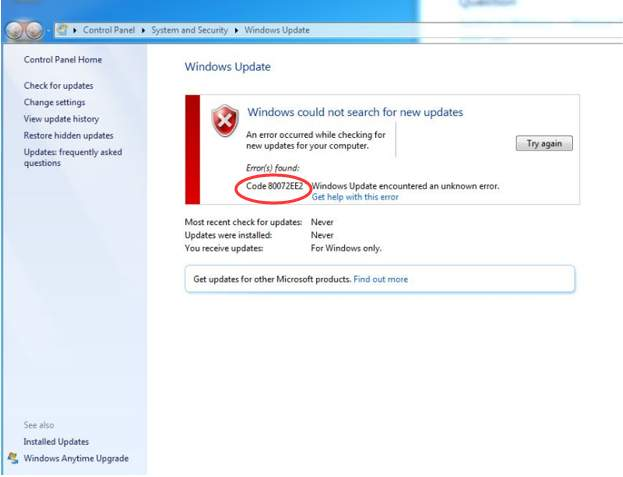 Solution for windows update error 0x80072ee2.