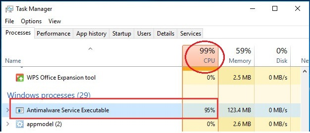 Fixed: 'Antimalware Service Executable' High CPU on Windows