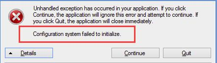 Configuration system failed to initialize on Windows 10 [Solved