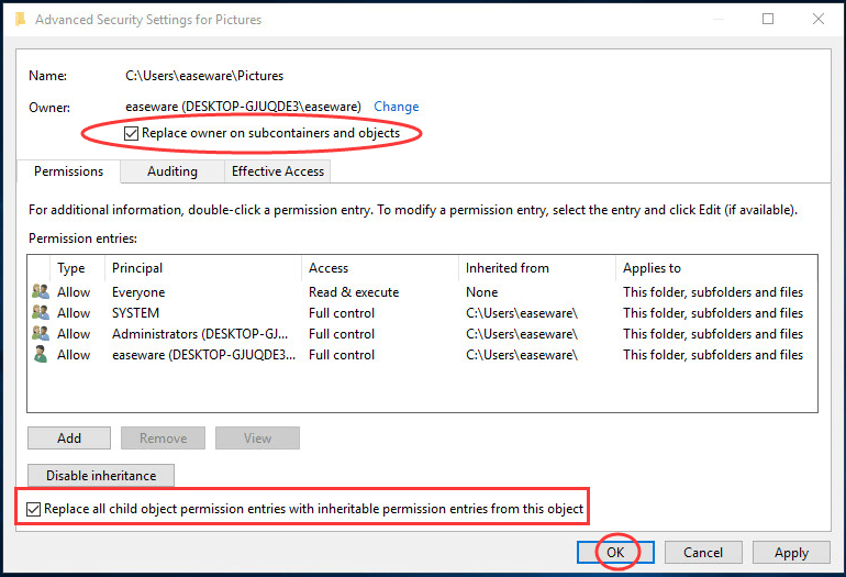 Windows 10 Failed to Enumerate Objects in the Container