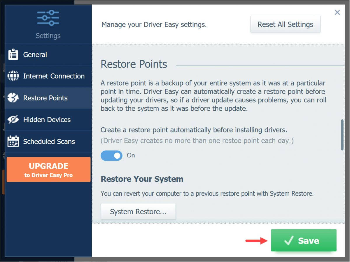 Driver Easy Free Settings Restore Restore Save the changes