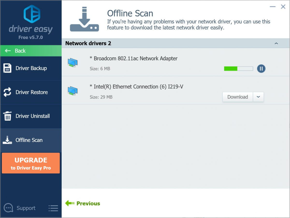 Driver Easy Free offline scan downloading network driver