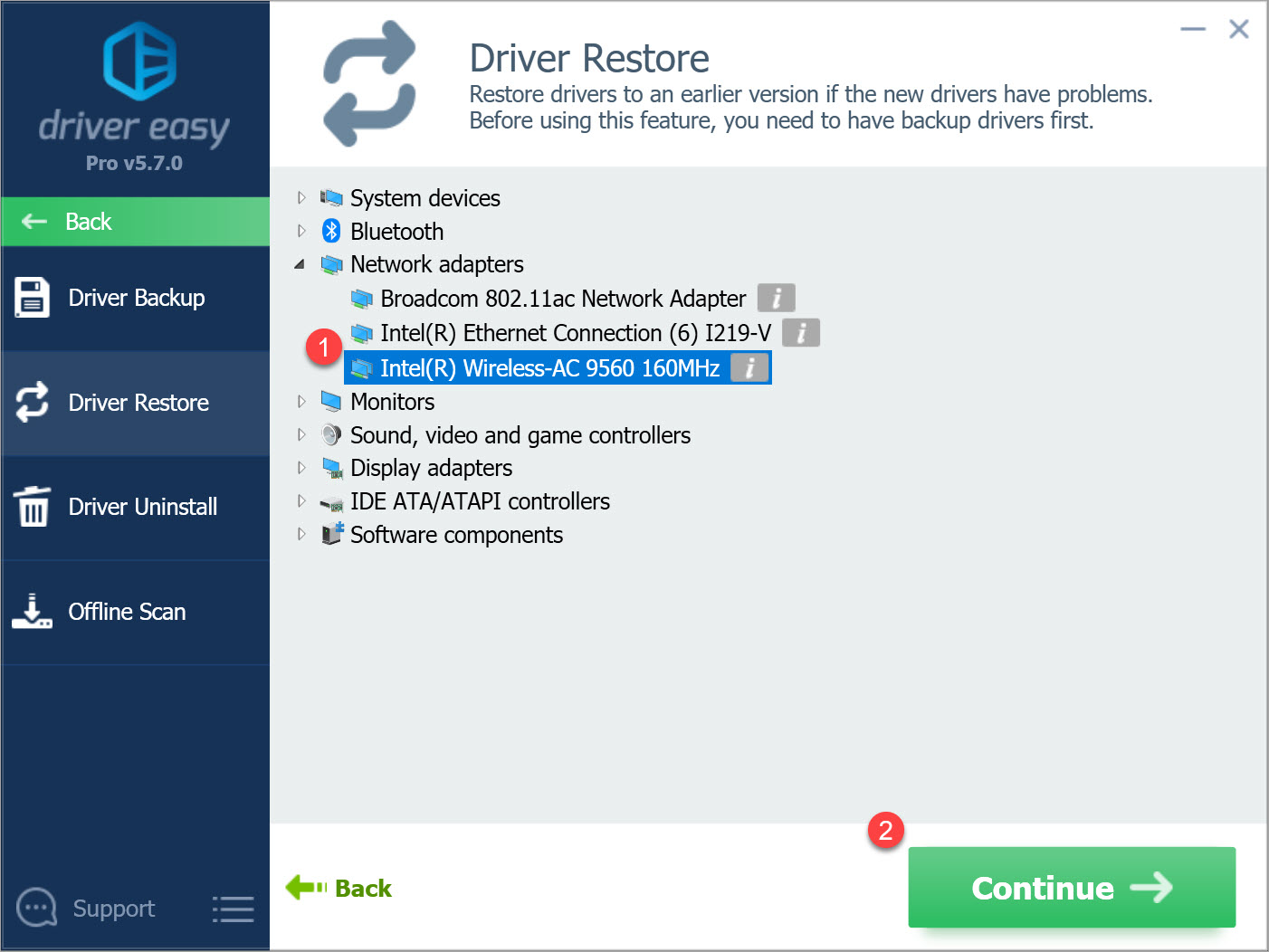 Driver Easy Pro select a device to restore the driver