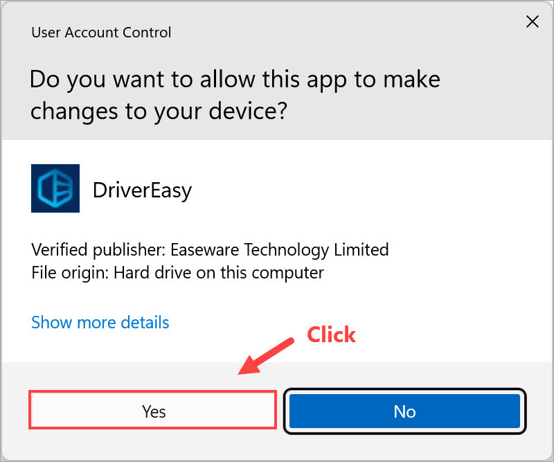 Driver Easy click Continure when prompted