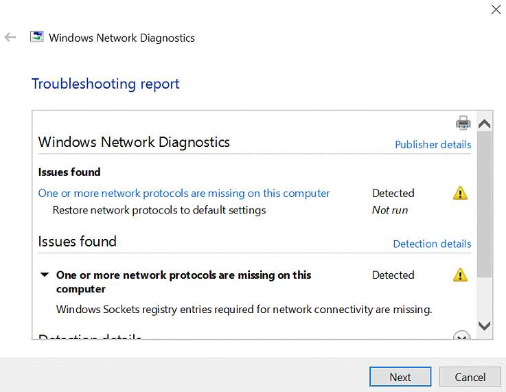 One or more network protocols are missing on this computer error on