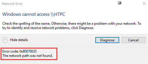 Error code: 0x80070035  The network path was not found