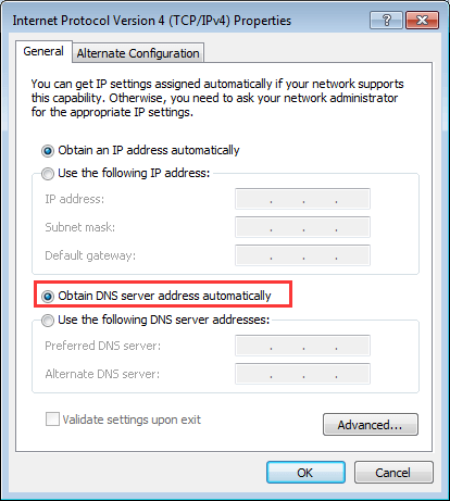 dns address could not be reached