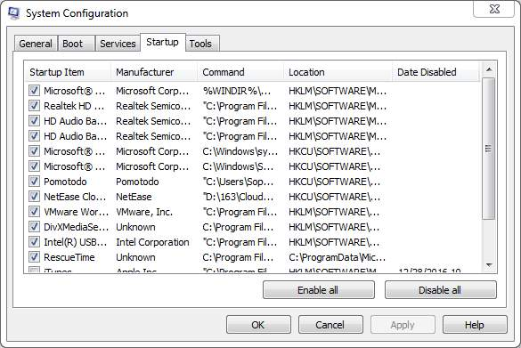 how to customize startup programs windows 7