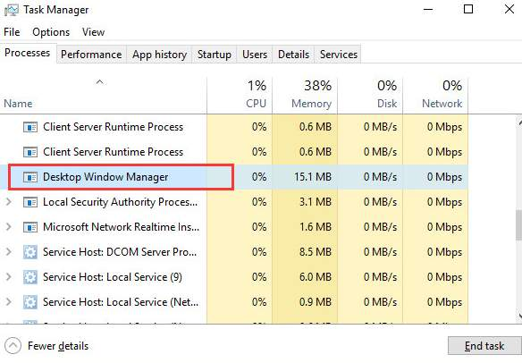 dwm.exe high memory usage windows 10