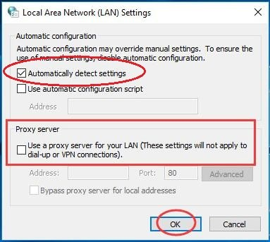 Fixed: Windows could not automatically detect this network's proxy