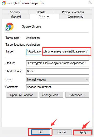 application /chrome.exe-ignore-certificate-errors-