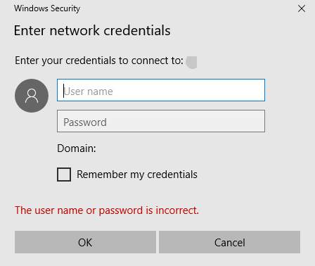 Enter network credentials access error on Windows 10 [Solved