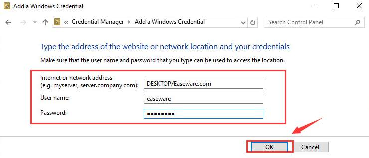 smb username and password windows 10