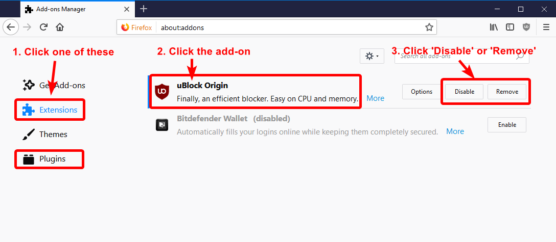 Disable or remove Firefox add-on