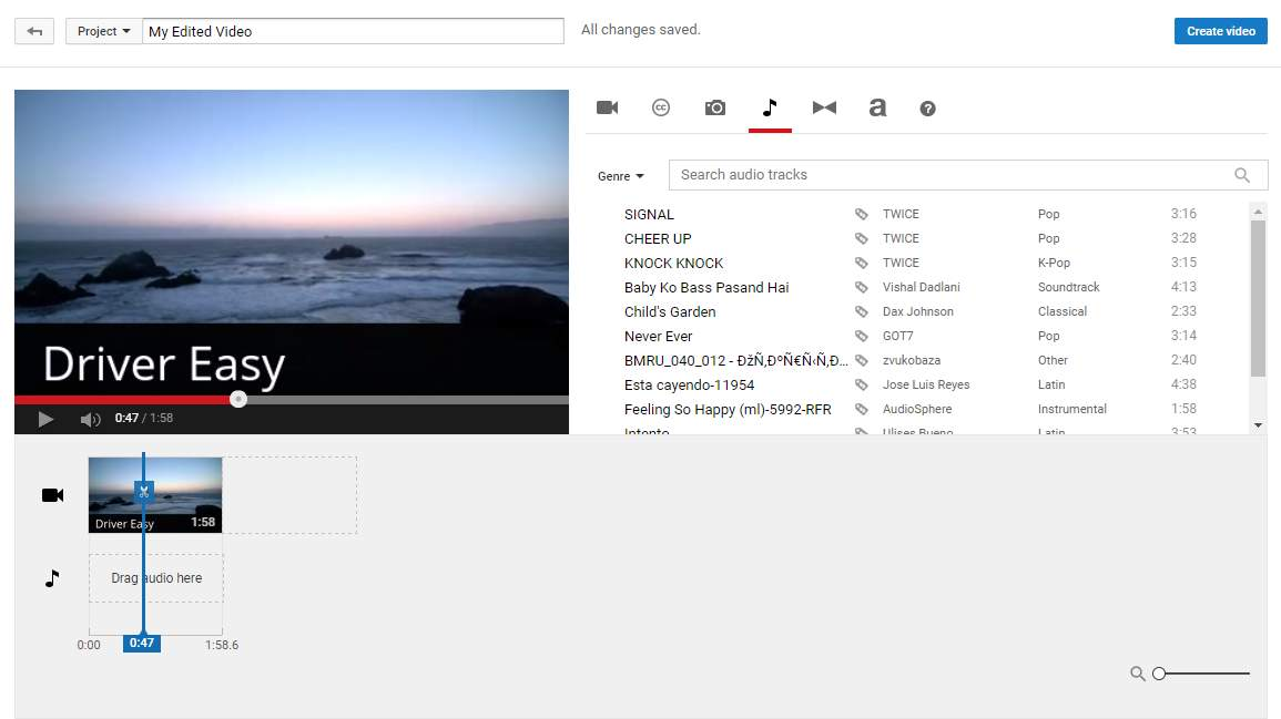 Youtube Video Editor How To Change The Audio Track Driver Easy