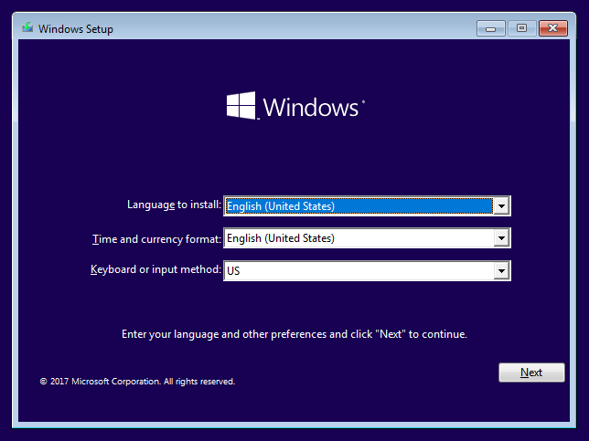 install windows 10 from usb black screen